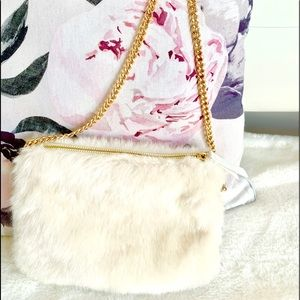 Handbags - NWOT Fancy White Faux Fur and Gold Purse